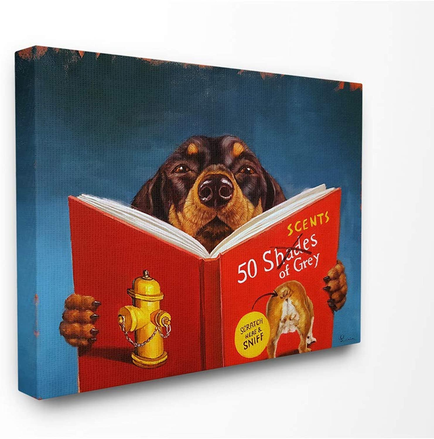The Stupell Home Decor Collection pwp200_cn_16x20 50 Daschund Dog Reading Canvas Wall Art, Multicolor