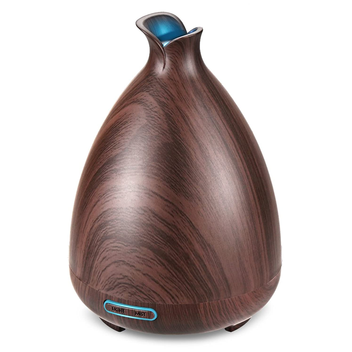 ベンチ切り離す敬な(Brown) - URPOWER Essential Oil Diffuser 130ml Wood Grain Ultrasonic Aromatherapy Oil Diffuser with Adjustable Mist Mode Waterless Auto Shut-off humidifier and 7 Colour Changing LED Lights for Home Office Baby