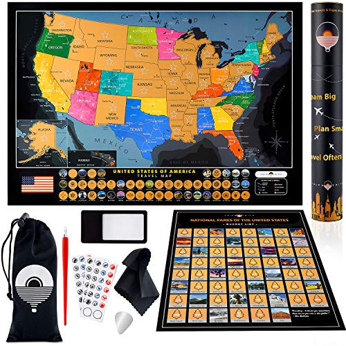 Large Scratch Off USA Map + All US National Parks Scratch Off Poster + 50 Landmarks & Flags + Complete Travel Map Accessories – Detailed Scratch Off Map of United States – Deluxe Gift for Travelers