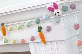 "Bunnies & Carrots Easter Spring Felt Garland- Pastel Rainbow- 1"" (2.5 cm) Wool Felt Balls"