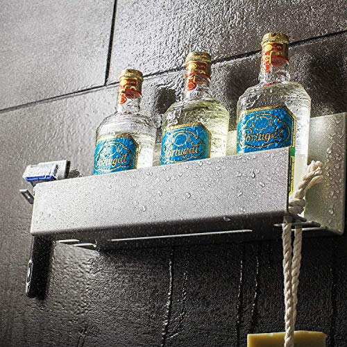 Stiller & Steiner - Soporte de ducha + soporte afeitadora sin taladrar – Estante baño autoadhesivo para aluminio, cesta ducha, estante baño, fabricado en Alemania