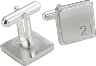 Square Cufflinks with '21' Engraved - 21st Anniversary