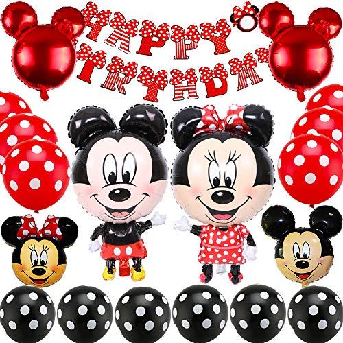 Mickey Themed Decoraciones de Fiesta, BESTZY Mickey Party Globos Artículos de Fiesta de Mickey y Minnie para Fiestas de Cumpleaños Decoraciones