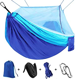 Hammock for Camping with Net Mosquito, Parachute Fabric Camping Hammock Portable Nylon Hammock for Backpacking Camping Tra...