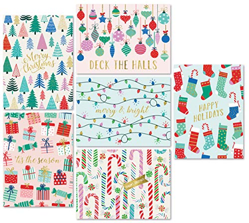"""Christmas Cards Set - 24 Gold Foil Holiday Cards with Red Envelopes – 6 Assorted Designs featuring Traditional Yuletide Images! Bulk Greeting and New Years Cards - 4.25""""x5.75"""""""