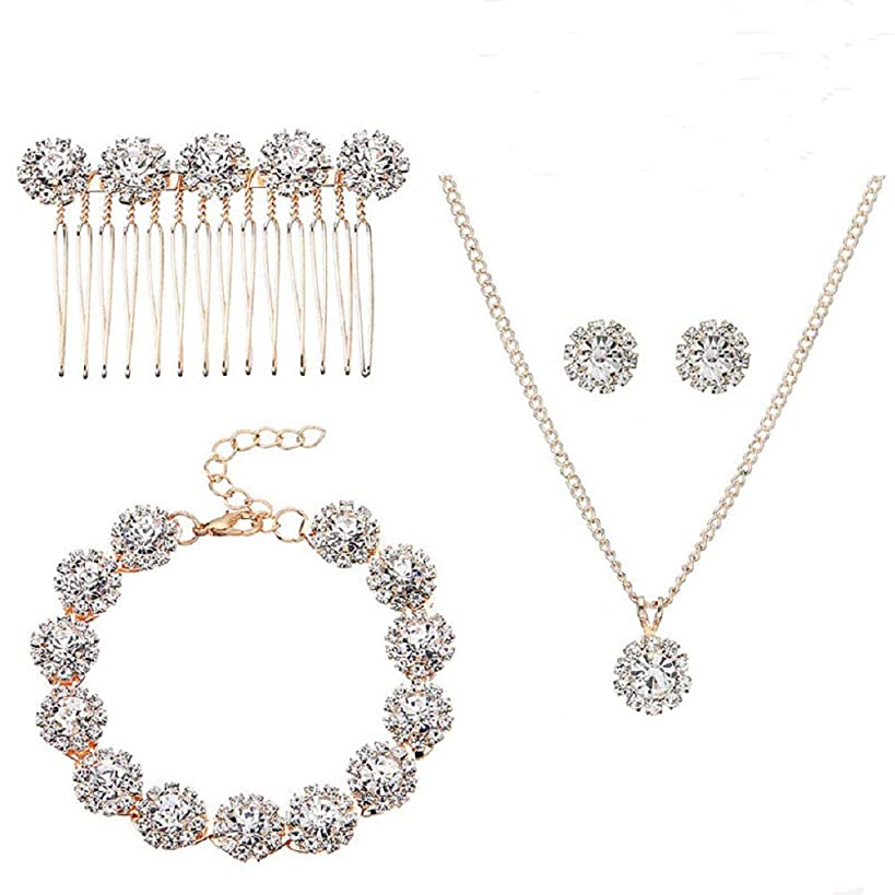 Ammei Bridal Wedding Jewelry for Brides with Crystal Side Comb Earrings Necklace Bracelets 5 Pieces