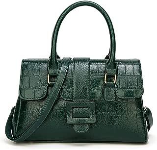 Portable Women's Retro Square Check PU Shoulder Bag Solid Color Multi-Color Soft Leather Fashion Messenger Bag Crossbody Bag Boston Bag (Color : Green)