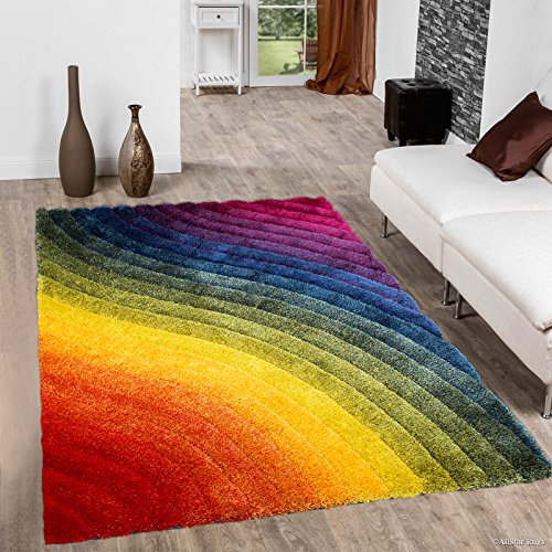 Allstar 5x7 Multi Color Modern and Contemporary Hand Carved Rectangular Shag Accent Rug with Wavy Rainbow Design (4' 11