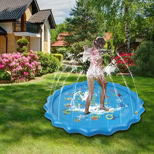Alfombrilla de Agua para Juegos, Alfombrilla de Aire Inflable de 165 cm con diseño Lindo, Piscina para bebés Plegable para jardín con césped para bebés