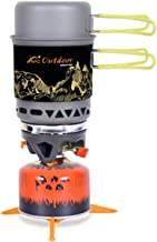 APG 2-in-1 Backpacking Camping Stove, Portable Hiking Camp Stoves Cooking System with Pot & Pan Kit, Outdoor Stove Propane gas Burner (Dark Gray)