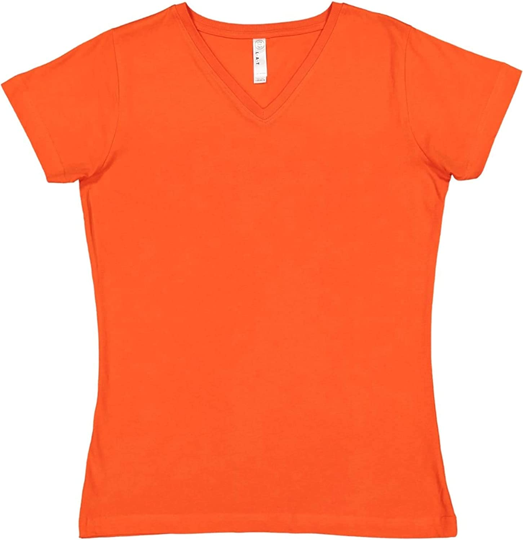 3507 LAT Women 100/% Cotton Jersey V-Neck Short Sleeve Tee