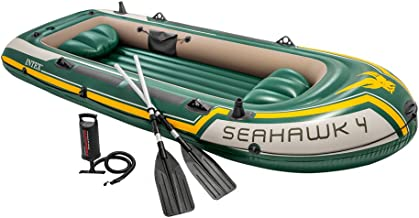Intex Seahawk 4, 4-Person Inflatable Boat Set with Aluminum Oars and High Output Air Pump (Latest Model), Green