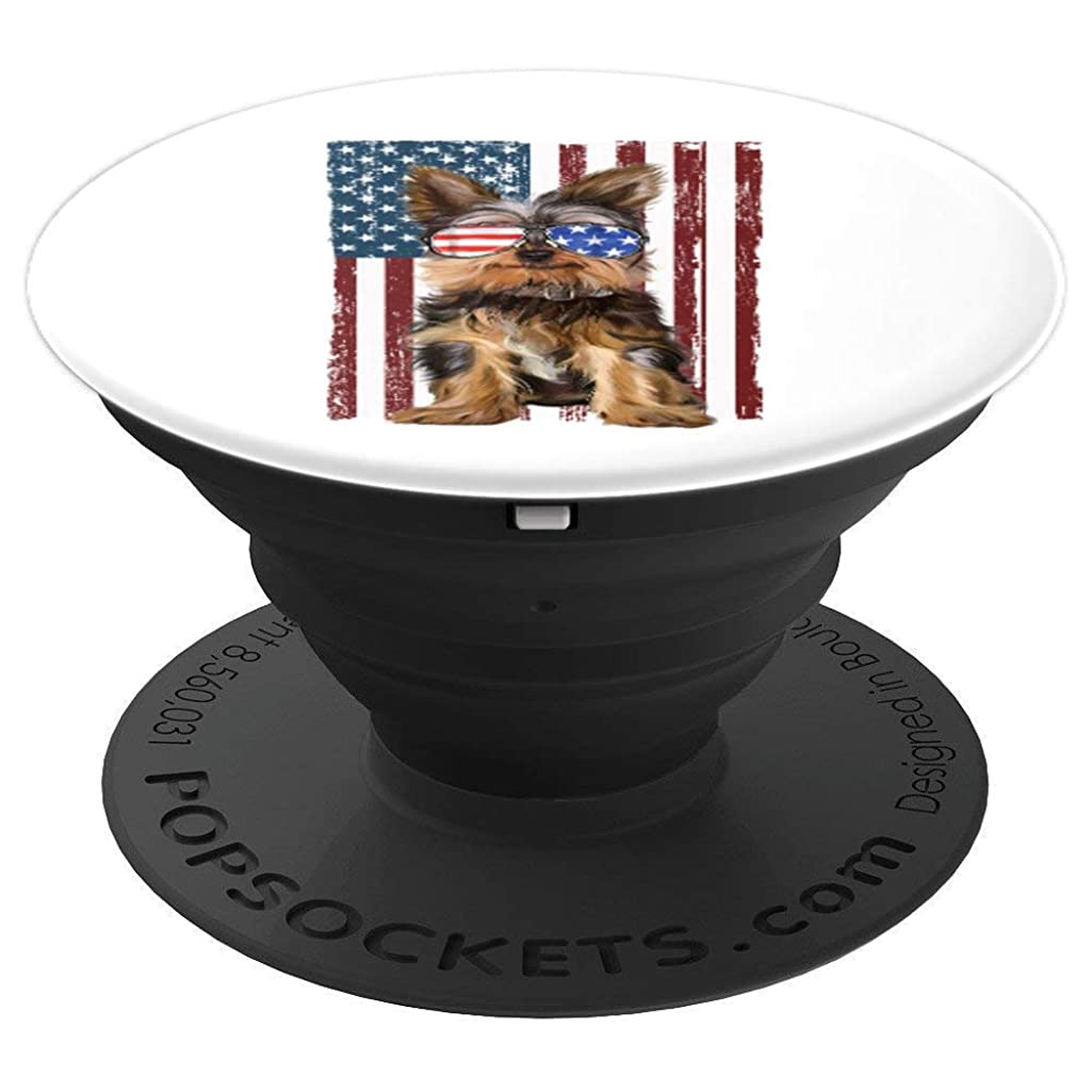 Yorkshire 4th Of July T-Shirt Yorkie Puppy Patriotic Gifts PopSockets Grip and Stand for Phones and Tablets