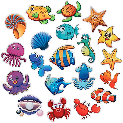 PGFUN 20PCS Marine Organism Stickers Tub Tattoos Sea Animal Decals Treads Adhesive Appliques with Scraper for Stairs,Refrigerators, Windows, Bathtub,Mirrors and Other Smooth Surfaces Decoration