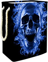 Laundry Bag Skull in Blue Fire Large Storage Bin Storage Basket Clothes Laundry Hamper Toy Storage Bin