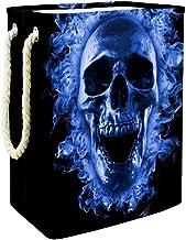 Laundry Bag Skull in Blue Fire Large Storage Bin Storage Basket Clothes Laundry Hamper Toy Storage Bin