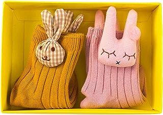 2 Pares Bebé Niños Calcetines Cortos de Algodón Antideslizantes Medias Oso Conejo Dibujos Animados Flor Raya Primavera Otoño Cómodo Lindo Calcetines de Piso Niñas Niño 0-5 Años