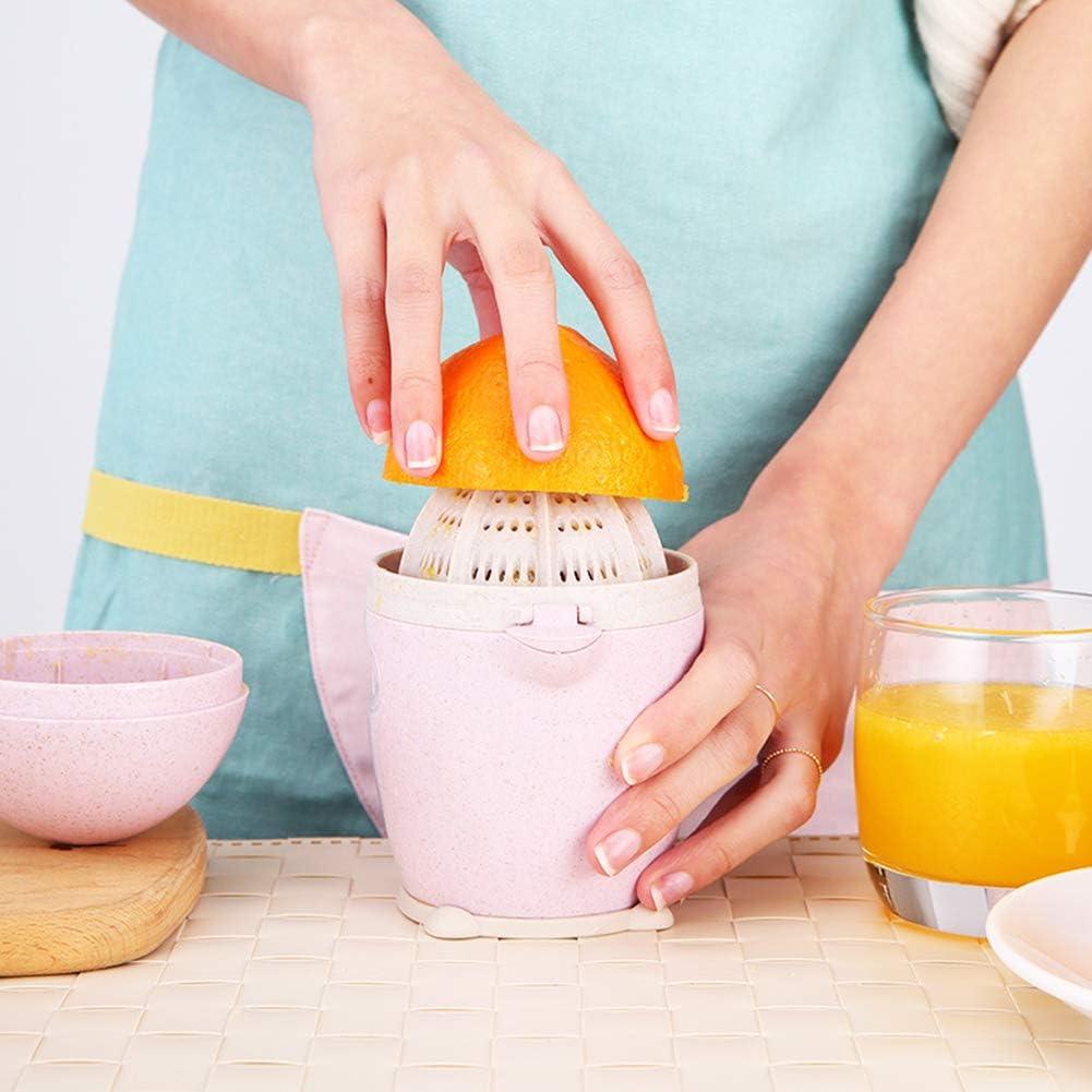 Yunobi - Prensa manual portátil con rotación de la tapa, exprimidor de cítricos y naranja con colador y recipiente para utensilios de cocina Geen Rosa