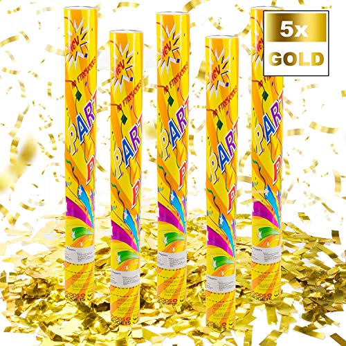Confetti Kanon Confetti Shooter Party Popper Confetti Kanon - XL 60 cm Goud - 5 Set