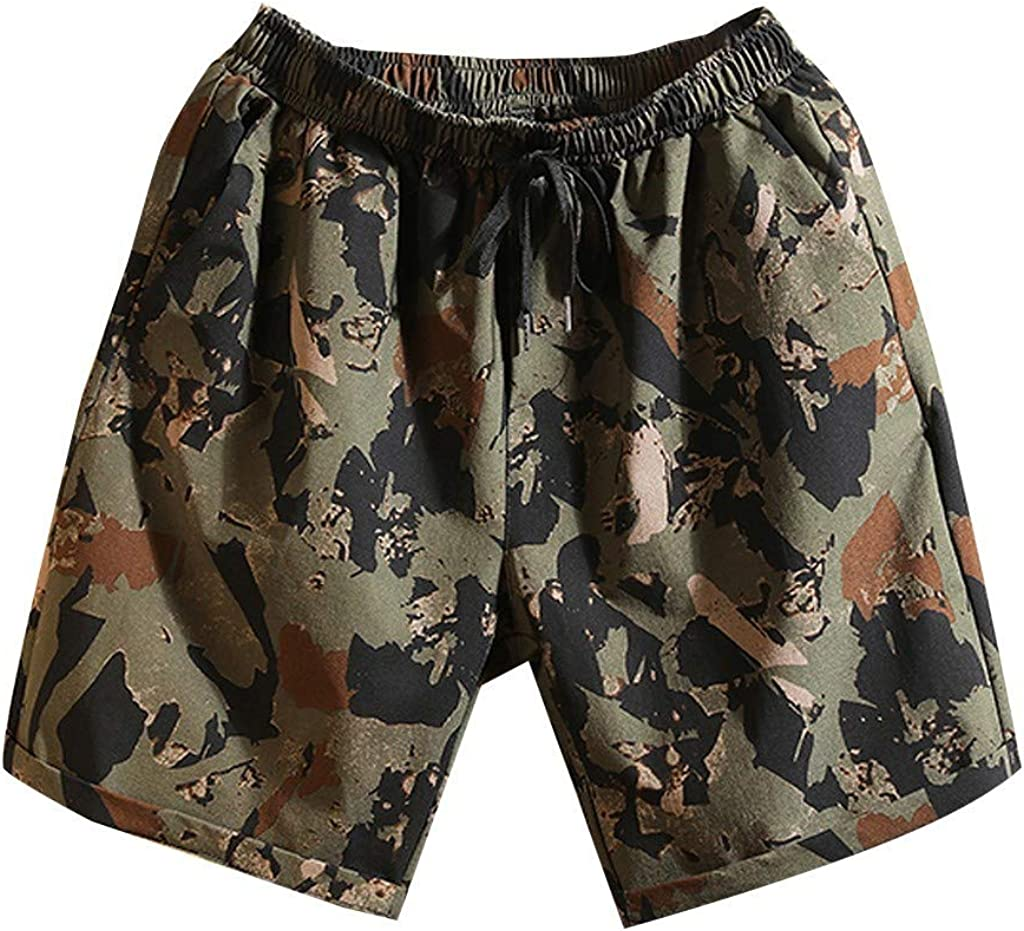 MODOQO Men's Sport Shorts,New Camouflage Print Loose Fit Athletic Swim Trunks