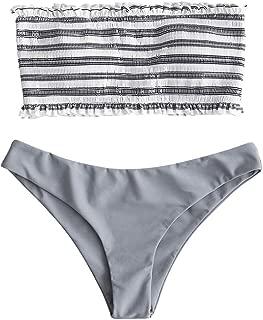 Voqeen Mujer Bikini Caliente de Volantes a Rayas Traje de baño Bandeau Top Cintura Alta Inferior