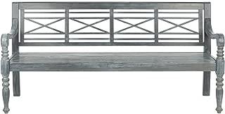 Safavieh Patio Collection Martin Adirondack Acacia Wood Bench, Ash Grey