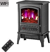 Calentador eléctrico de registro de la llama del quemador Efecto-2000W independiente Chimenea estufa con leña de luz LED de control remoto aire más caliente de gran dormitorio habitación
