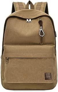 HYXADLY USB Backpack Shoulder Bag Middle School Students Travel Bag Backpack Charging Interface with External Headphone Jack (Color : Khaki)