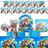 Tomicy Vajilla Reutilizable Diseño de Super Mario Accesorio de Decoración de Fiesta de Cumpleaños Apoyo para Celebración Pancarta Platos Vasos Servilletas y Mantel Resistente, 62pcs