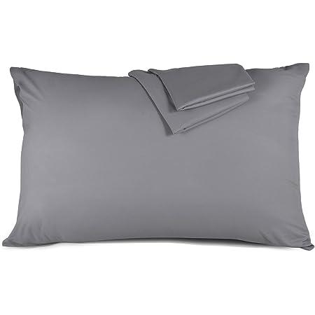 Taie d'oreiller 50x70 cm - Lot de 2 100% Microfibre Super Douceur, Anti-acariens et Hypoallergénique (Gris) Duractron