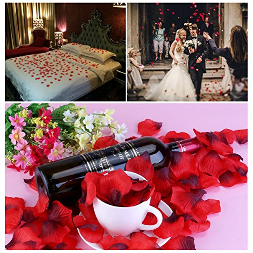 CODE FLORIST 2200 PCS Dark-Red Silk Rose Petals Wedding Flower Decoration 2...
