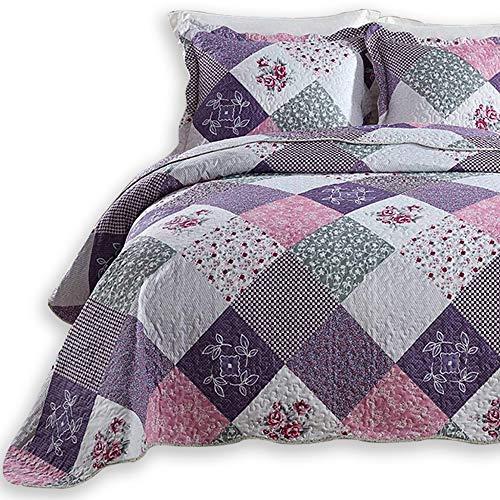 ENJOHOS 3-Piece Quilt Bedspread Sets Queen Size Coverlet Lightweight Reversible Bedspread for Queen Bed Korean Style Flower Garden on Purple Checker...