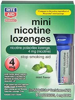Rite Aid Mini Mint Nicotine Lozenge 4mg Stop Smoking Aid, 81 Count