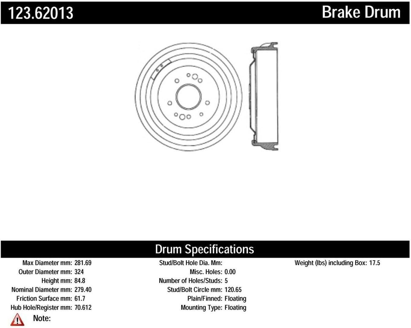 Centric Oakland Mall Parts 123.62013 Brake Drum Award-winning store
