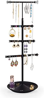Alsonerbay Hanging Necklace Organizer 4 Tier 360 Degree Rotatable Jewelry Tree Stand Earring Holder Bracelets Racks Adjust...