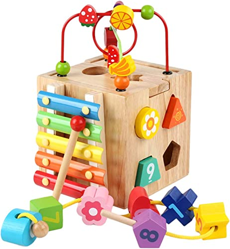 Yeahi  Cube Bois d'Activité pour Enfant Intellectuel Jouet de Quatre Côtés Coffre au Trésor Perles Couleurées Jouet