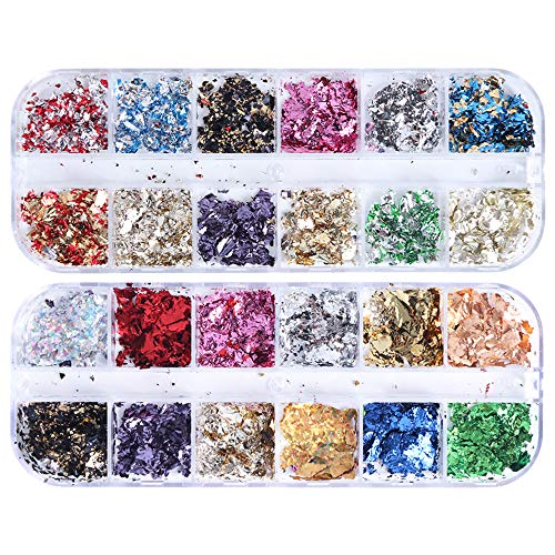 24 Colors Foil Nail Art Holographic Aluminum Foil Nail Stickers Flakes Sequins 3D Glitter Decoration DIY Design Accessories Rainbow Nail Art Supplies Gold Nail Decals