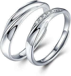 comprar comparacion Sassu - Anillos de compromiso de plata 925 con circonitas cúbicas de Swarovski, para parejas, sin fin