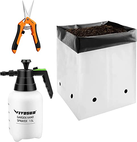 new arrival VIVOSUN 50-Pack 2 Gallon Grow Bags with Gardening high quality Hand Pruner Pruning Shear and 51oz Hand new arrival held Garden Sprayer Pump Pressure Water Sprayers online sale