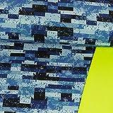 Softshell Stoff grafisches Muster royalblau neongelb -