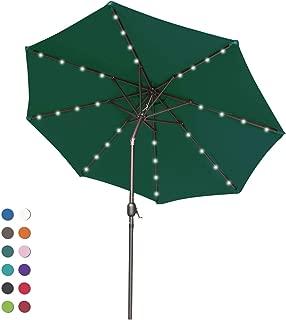 ABCCANOPY Patio Umbrella Ourdoor Solar Umbrella LED Umbrellas with 32LED Lights, Tilt and Crank Table Umbrellas for Garden, Deck, Backyard and Pool,12+Colors, (Forest Green)