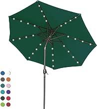 ABCCANOPY Solar Umbrellas Patio Umbrella 9 FT LED Umbrellas 32LED Lights with Tilt and Crank Outdoor Umbrella Table Umbrellas for Garden, Deck, Backyard, Pool and Beach,12+Colors, (Forest Green-1)