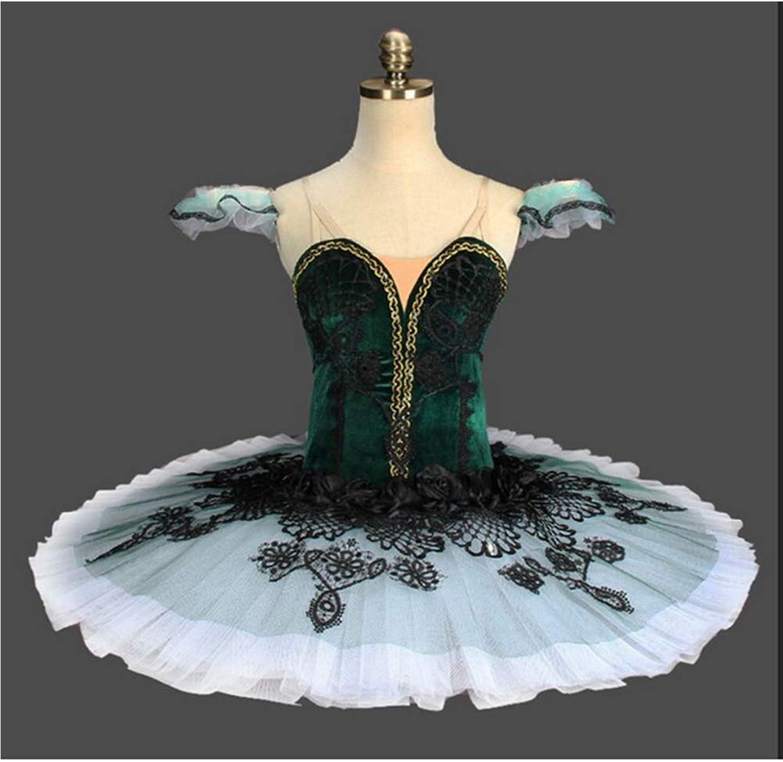 Black Green Velvet Professional Ballet Tutu Classic Ballet Competition Clothing Pettiskirt Practice Mesh Skirt,1,XXL