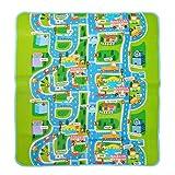 Pink Papaya XXL Spiel-Teppich für Kinder, isolierte wasserfeste Picknickdecke inkl. Tasche, 160 x 180 cm Straßenteppich City, Stadt mit Feuerwehr Polizei für Jungen und Mädchen