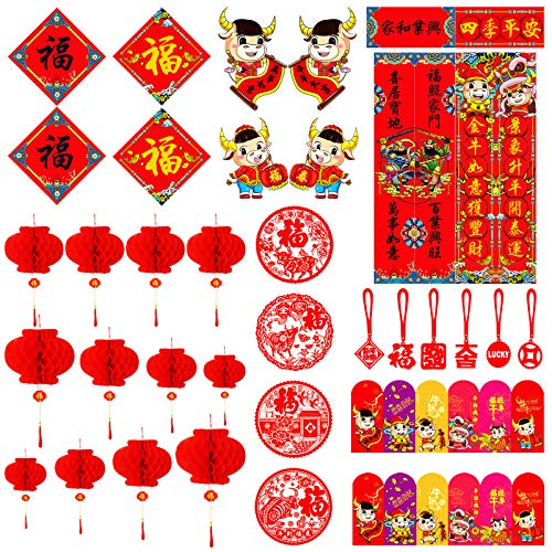 Decoraciones de Año Nuevo Chino (52 unidades) - Sobres rojos de papel farolillos rojos Pareja Chinos Fiesta de Primavera Pareja Fu NIU...