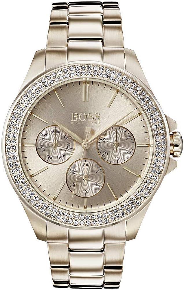 Hugo boss orologio multi-quadrante donna con cinturino in oro rosa 1502443