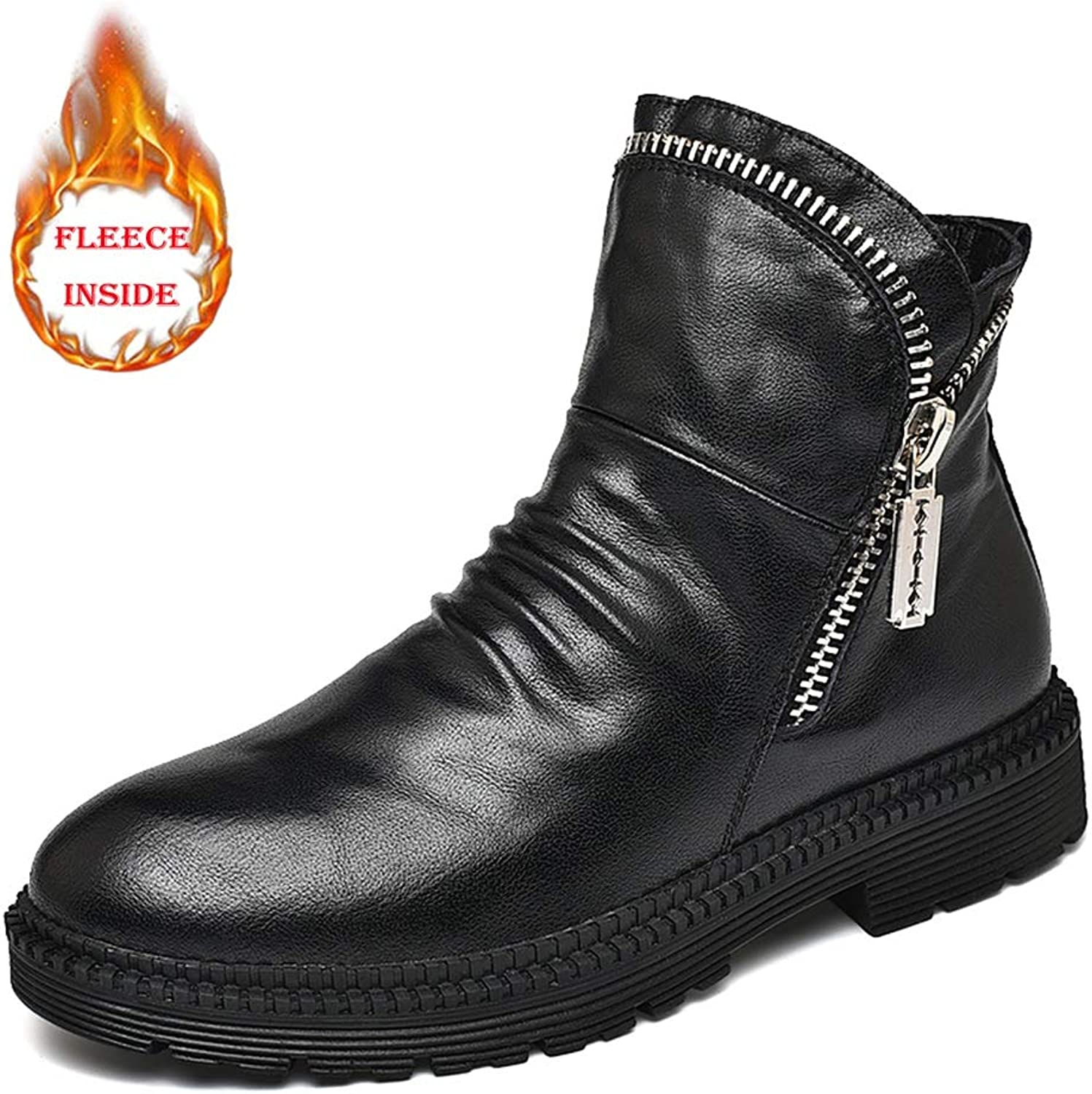 Dig dog bone Men's Fashion Work Ankle Boots Casual Personality Retro Zipper Fleece Lined High Top Martin Boot