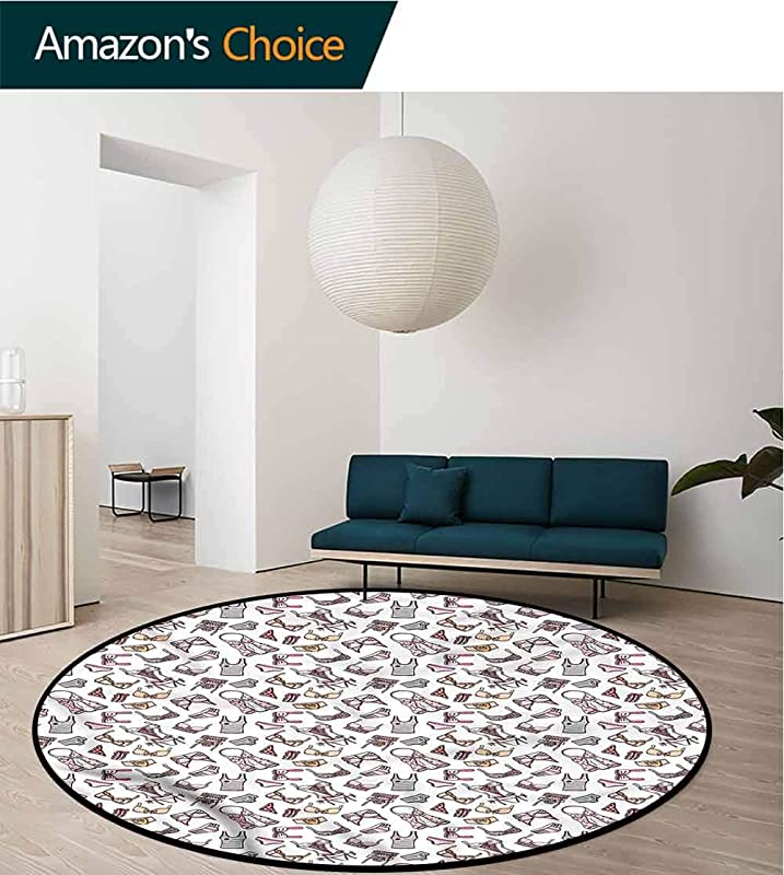 RUGSMAT Girls Small Round Rug Carpet Lingerie Pieces Feminine Glam Printed Round Carpet For Children Bedroom Play Tent Diameter 24