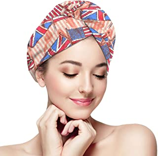 UK USA Flags Vintage Microfiber Hair Towel Wrap With Button Quick Dry Hair Turban For Women Girls