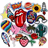 Iron On Patches for Clothing, 20 Pcs Assorted Size Applique Patches, Sew On Flowers Patches for Jackets, Backpacks, Jeans, Man and Women.